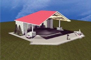There have been some changes to the design of a stage planned for the Land O' Lakes Community Park, since this original rendering was drawn. But, the overall appearance will be very similar, said John Petrashek, director of construction services for Pasco County Schools. One big difference, though, is that plans now call for a copper-colored roof. (File Photo)