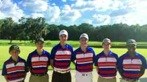 The Freedom Boys golf team is seeking their fourth consecutive district title. From left, Cooper Smith, Matt Daniello, Cy Storlien, Nick Mitchell, Tyler Bray and Sam Smith. (Courtesy of Chris Bray)