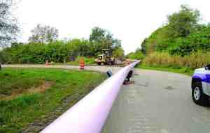 Approximately 6 miles of 24-inch and 36-inch diameter reclaimed water pipeline is being installed to transfer wastewater flows from the Dale Mabry Wastewater Treatment Plant to the Northwest Regional Water Reclamation Facility. (File Photo)