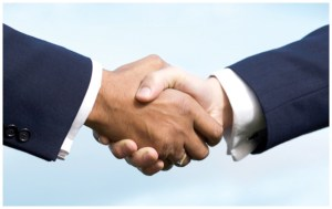 A good handshake helps to make a positive first impression. Avoid offering a 'limp fish' handshake or a bone-crushing grip. (Photos courtesy of Jackie Eden/Pasco-Hernando State College)