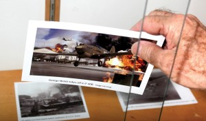 A photo in a display at Lutz Public Library honors the 75th anniversary of the attack on Pearl Harbor and recalls the heroic action of American pilot George Welch.