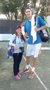 Jeanette Marcus, left, is shown here with John Isner, one of the top-ranked players on the ATP (Association of Tennis Professionals) World Tour. (Courtesy of Jeannette Marcus)