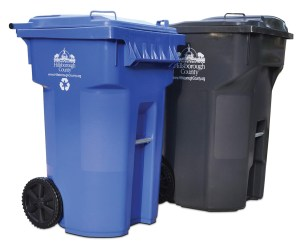 The county is trying to raise awareness about which items should be placed in 65-gallon, blue recycling carts and 95-gallon, gray garbage carts.
