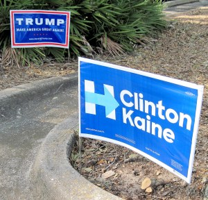 Yards and rights-of-way are filling up with Trump and Clinton for president signs. (B.C. Manion/Staff Photo)