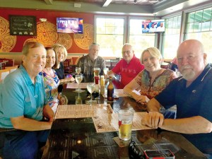Friends get together at Irish Mulligans Pub at Plantation Palms Golf Club. From left: Mike Henning, Nanette Henning, Deborah Scotch, Ron Scotch, Bill Lane, Rose Parnell and Joe Parnell.