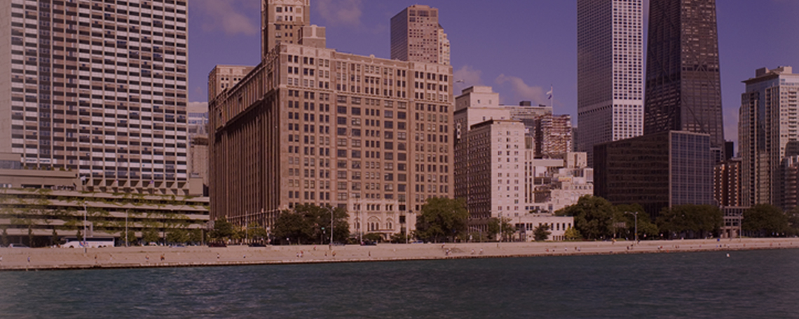 Stylized image of Chicago lakeshore