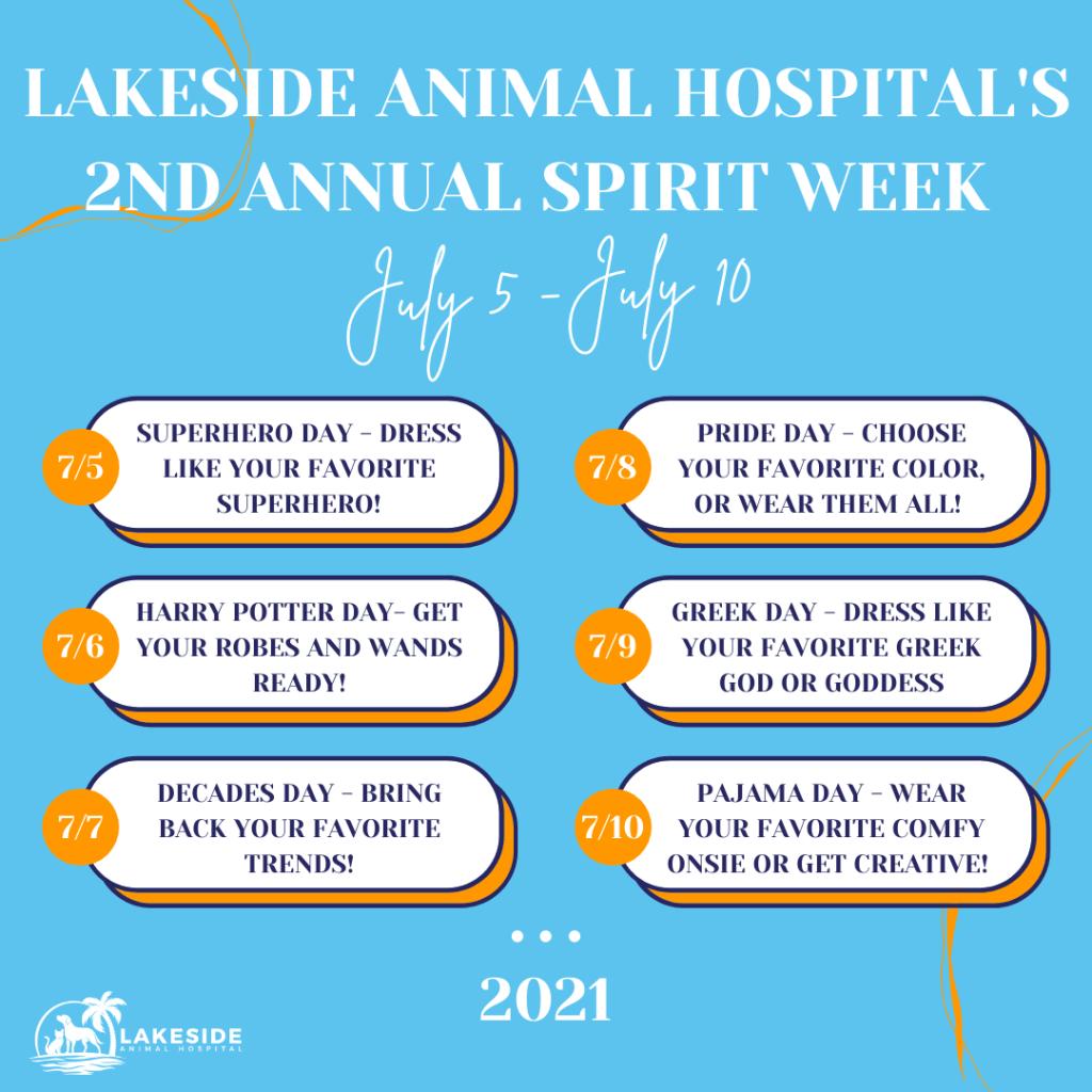 Lakeside Animal Hospital Spirit Week Daily Themes