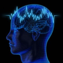 Picture of a head scan with brain waves running through it.