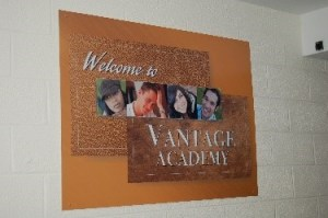 """A sign that says, """"Welcome to Vantage Academy"""""""