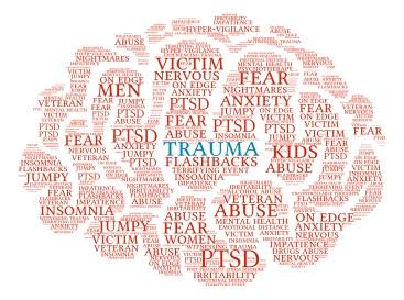 Trauma Brain word cloud on a white background