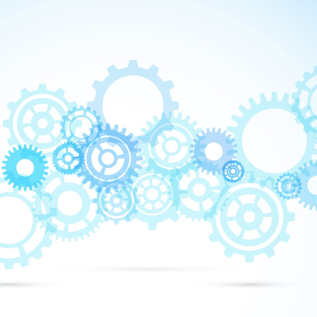 Blue gears working together abstract modern mechanical background