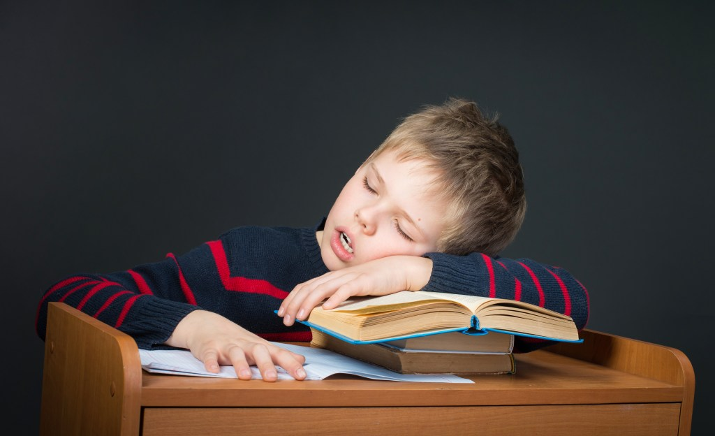Cute kid sleeping on old books.