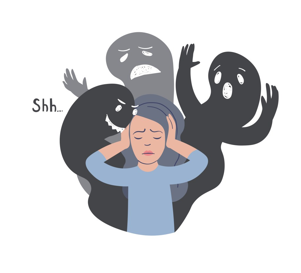 vector illustration. Woman with other faces silhouettes. Mental illness.