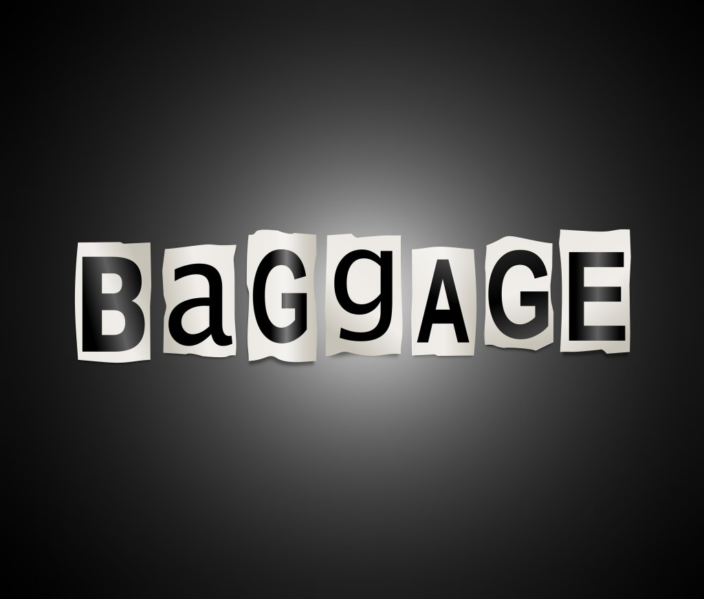 3d Illustration depicting a set of cut out printed letters arranged to form the word baggage.