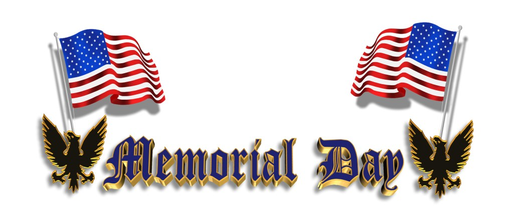 """Memorial Day"" logo with flags, icons."