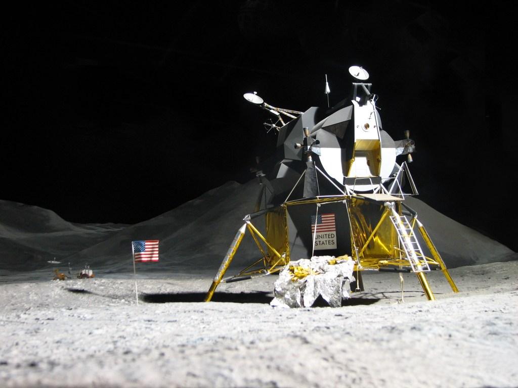 moon landing - apolo 11 model shown in an exhibition