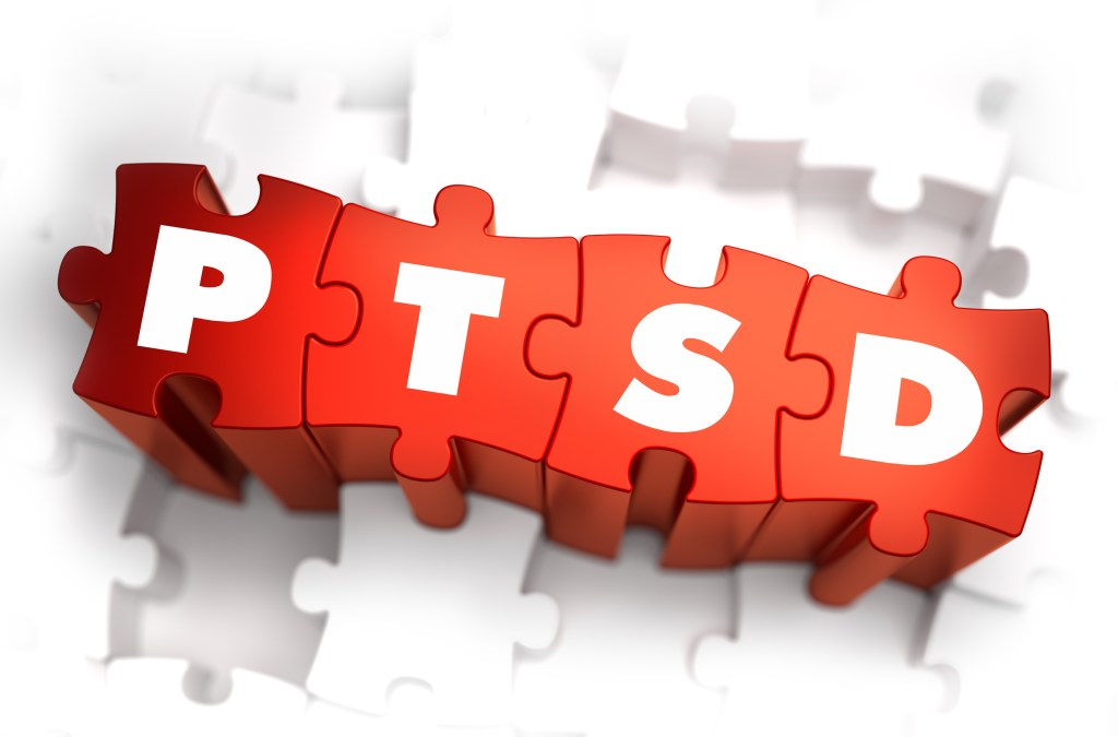 PTSD - Post Traumatic Stress Disorder - White Word on Red Puzzles on White Background.