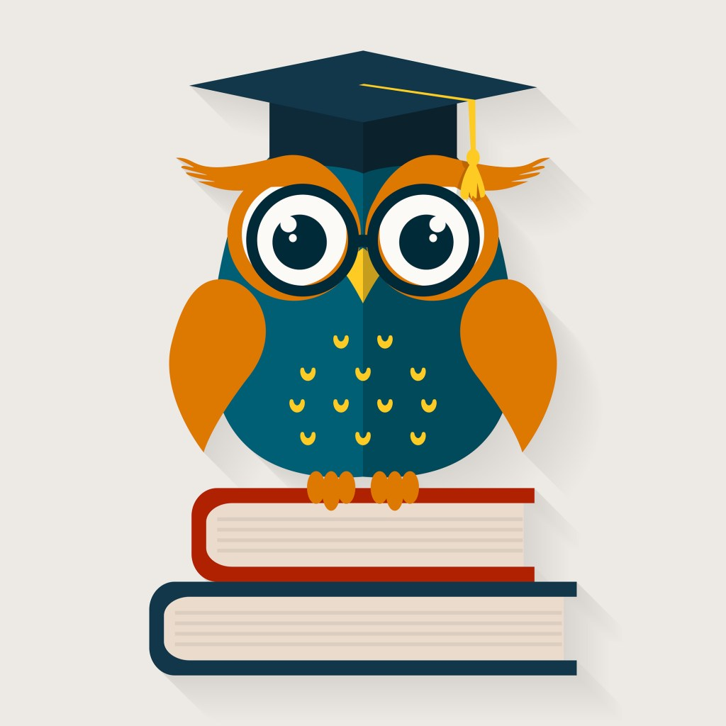 Wise owl with books and graduate cap. Edu illustration/design.