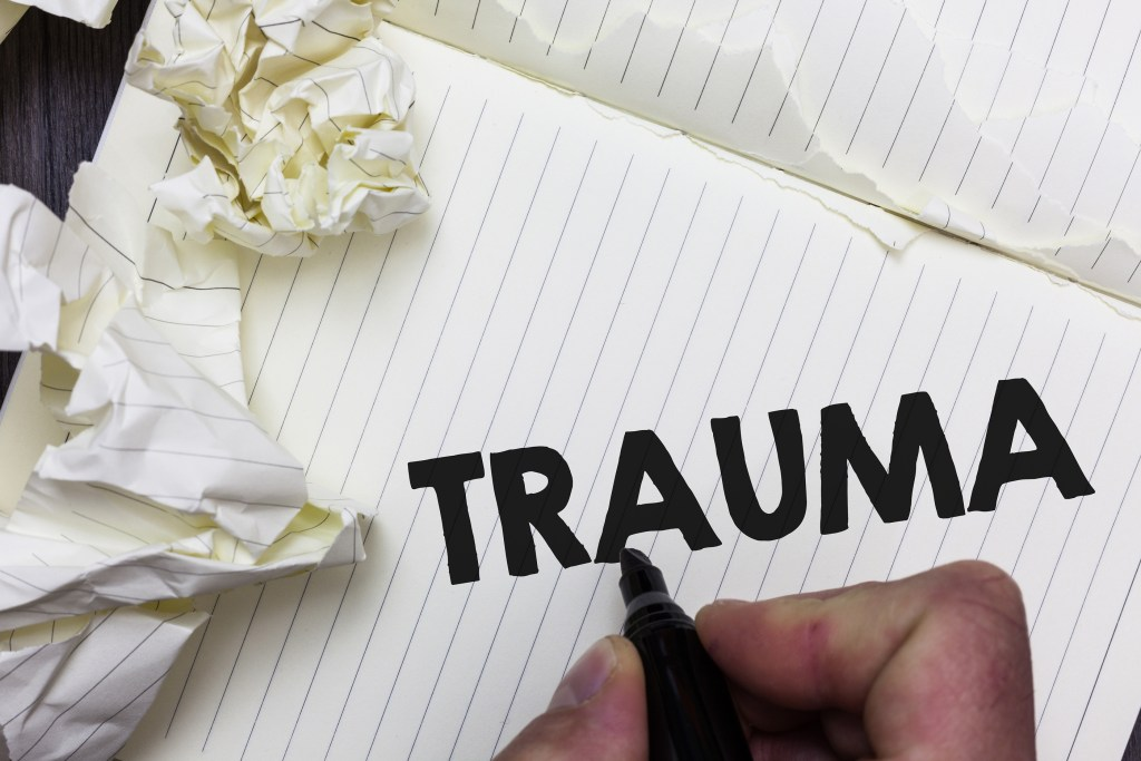 Conceptual hand writing showing the word Trauma.