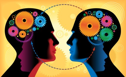 Two heads of people with mechanisms, communication, gear