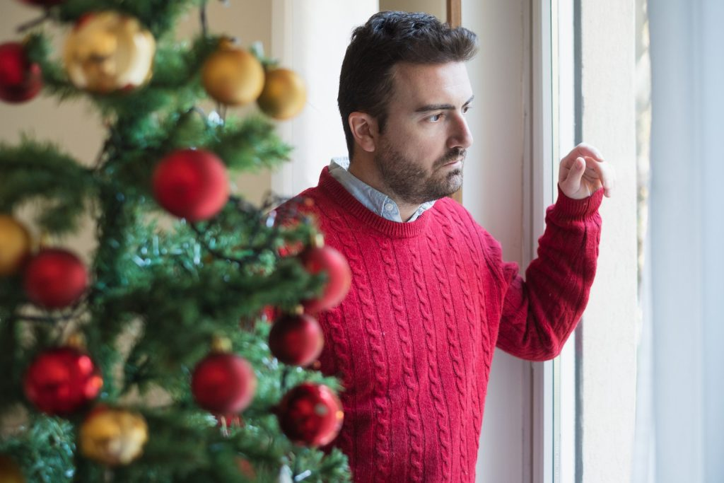 Man depression during christmas holiday