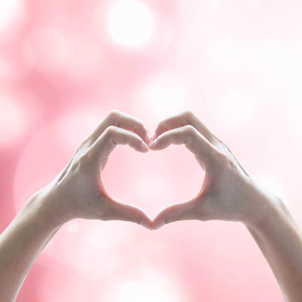Hands forming a heart, of giving