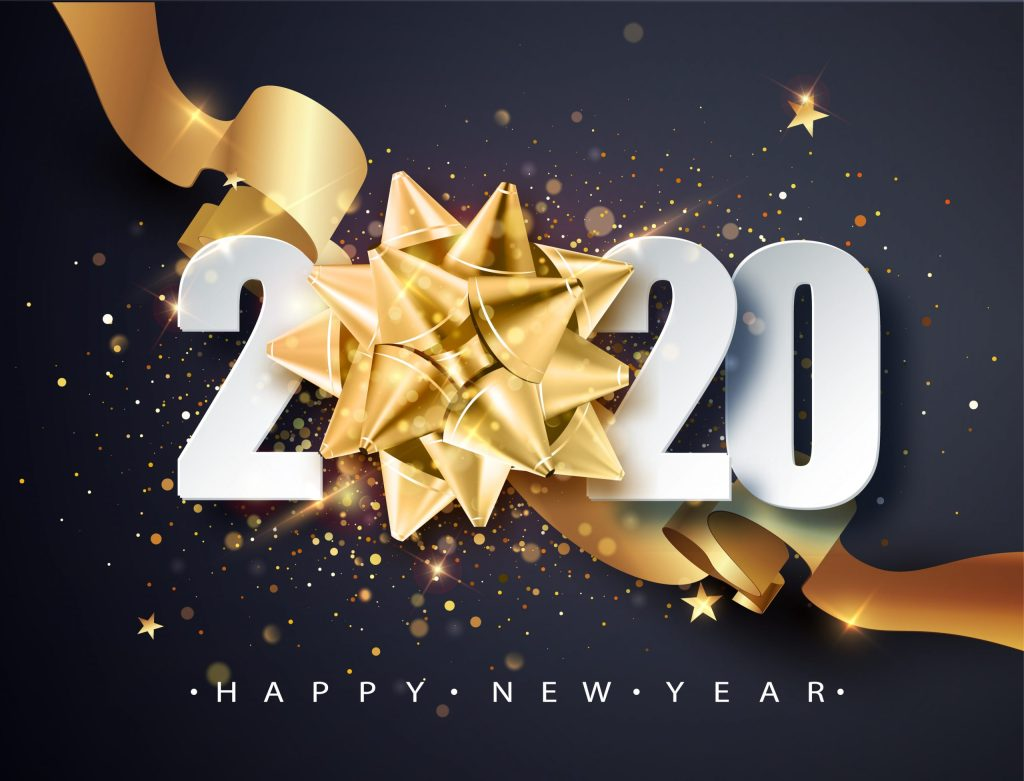 2020 Happy new year. Happy New Year 2020 - New Year Shining background with golden gift bow and glitter.