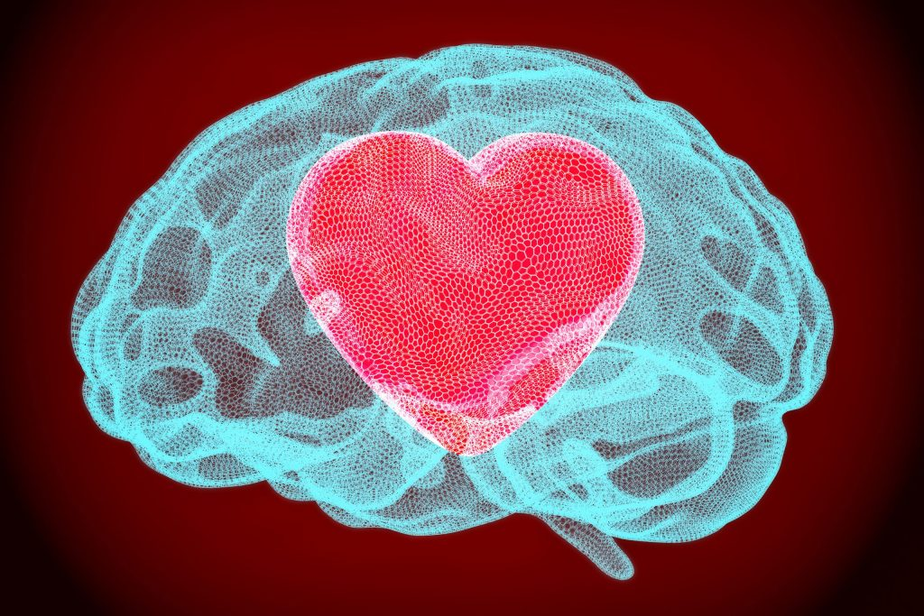 Heart inside brain smart love concept. 3D rendering