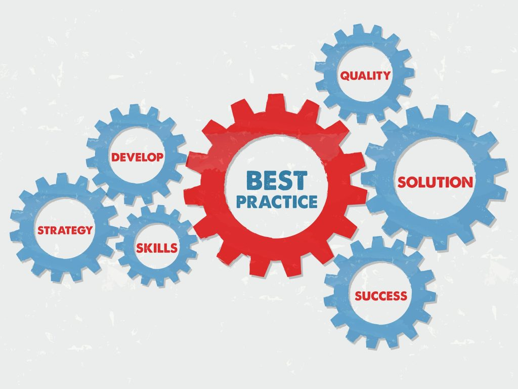 best practice quality solution success develop strategy skills - red blue text in grunge flat design gear wheels