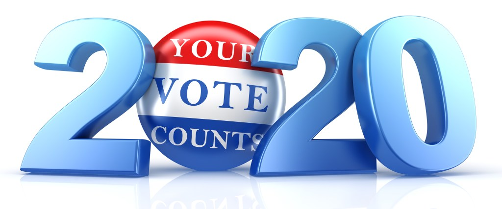 Vote 2020. Red, white, and blue voting pin in 2020 with Your Vote Counts text.