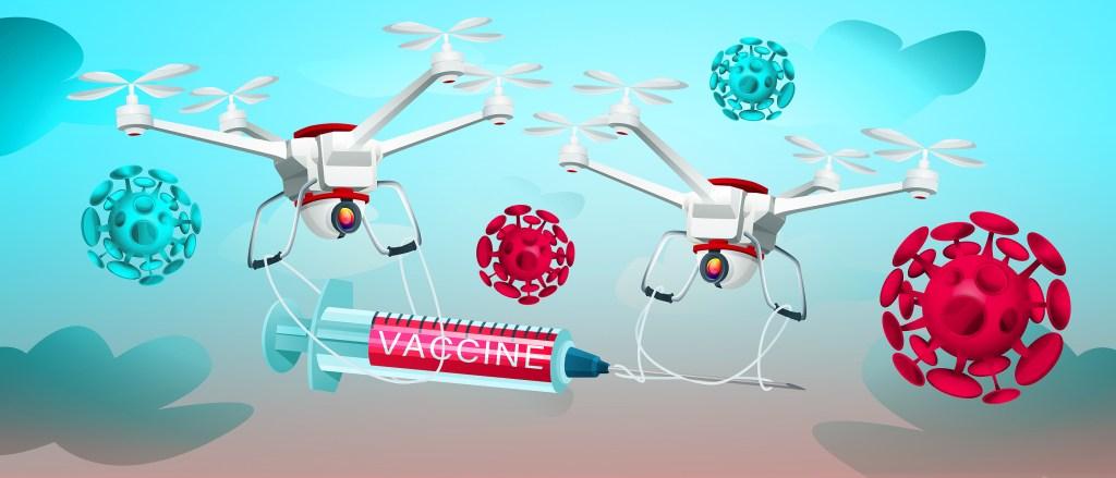 COVID-19 coronavirus vaccine delivered by drones