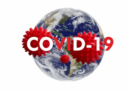 Coronavirus text and models of virus over planet earth.