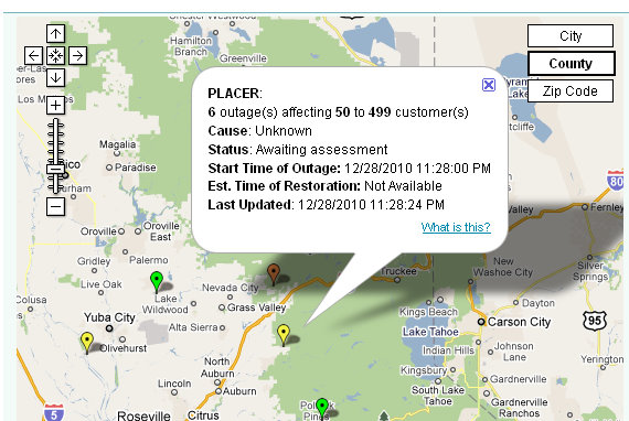 Some Areas in Placer & ElDorado County Without Power This Eve