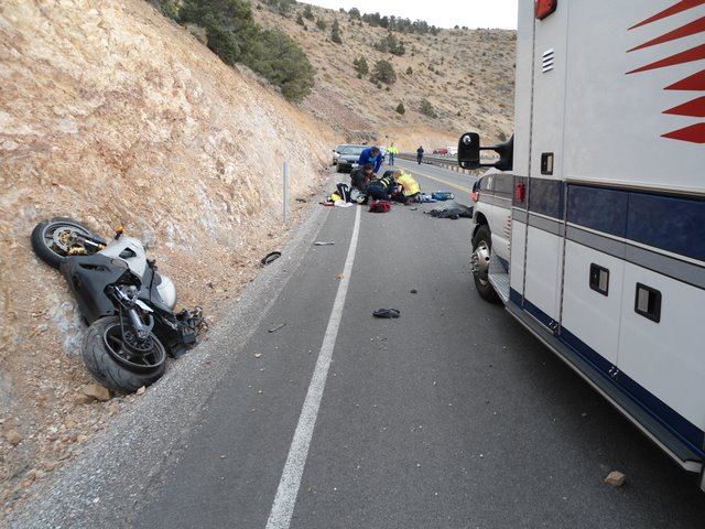 Fatal motorcycle accident on SR341 (Geiger Grade Highway) - Lake