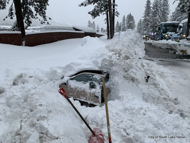 Woman Rescued from Car Buried in Snow, Illegally Parked Cars, Broken Gas Lines Caused Problems in South Lake Tahoe