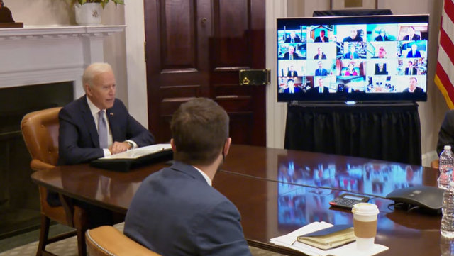 President Biden at a Virtual CEO Summit on Semiconductor and Supply Chain Resilience