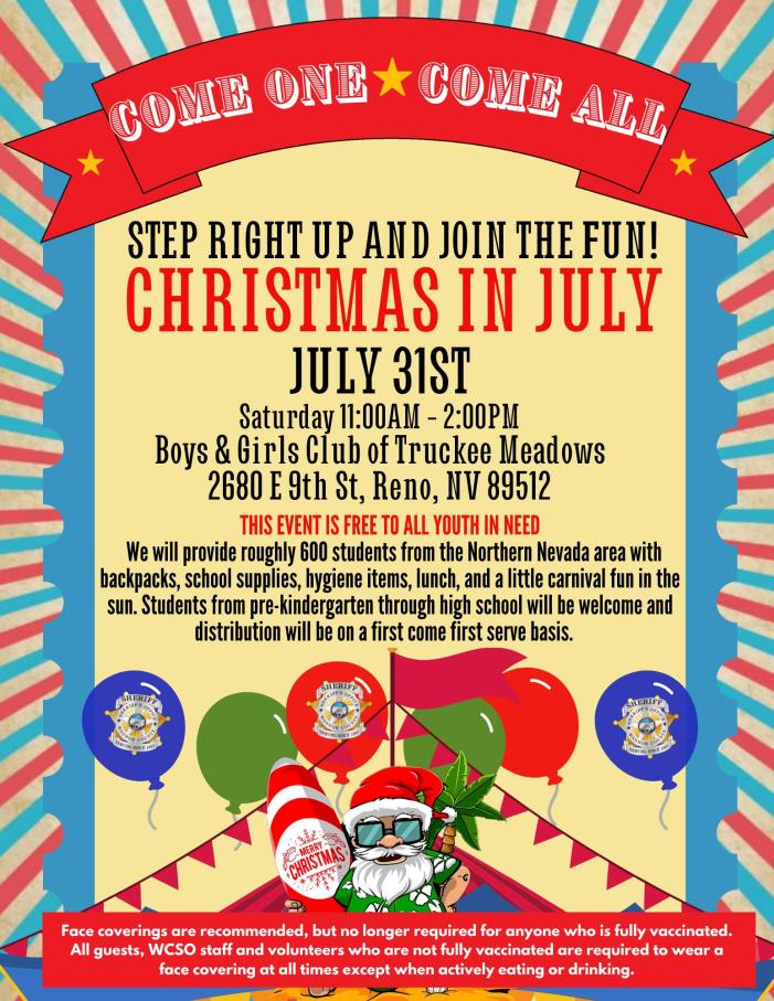 Washoe County Sheriff's Office, WCHDSA, and AT&T Pioneers Host Third Annual Christmas in July Back-to-School Event for Local Children