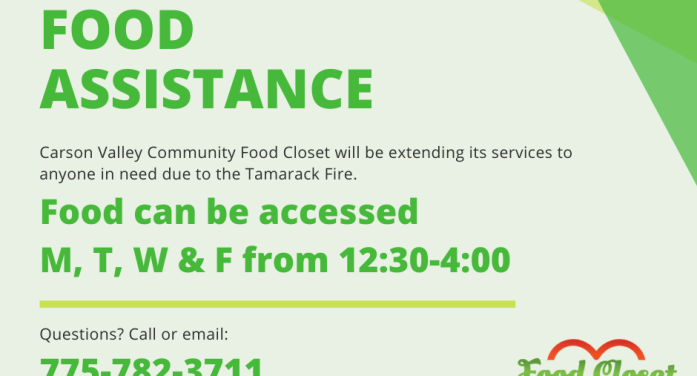 Carson Valley Community Food Closet Extending Services to Alpine County Residents Due to Tamarack Fire