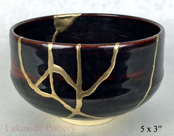 kintsugi repair - Japanese-tenmoku-tea-bowl chawan Kintsukuroi