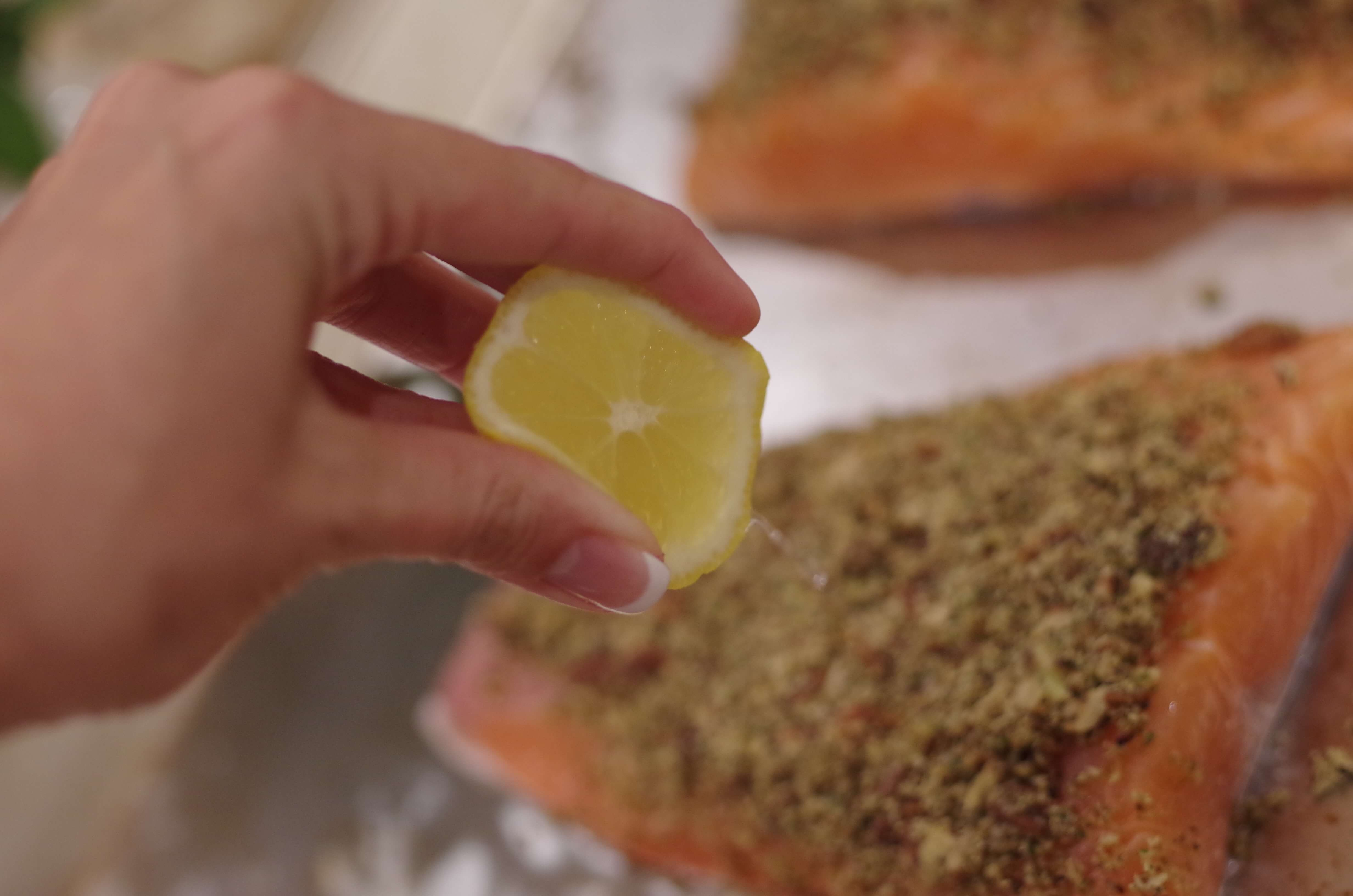 Pecan Crusted Salmon over Mustard Sauce Recipe