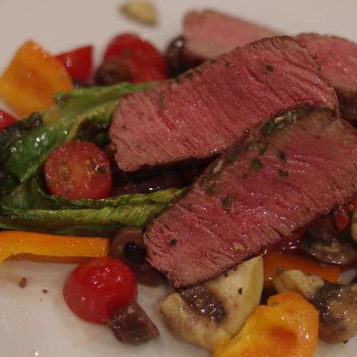 Tuscan Salad with Oven Finished Steak with Herb Butter