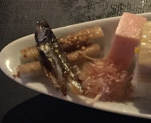 Tasty little fish treat from restaurant Yuba Zukushi, Seike in Kyoto