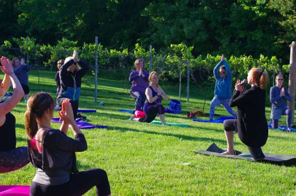 Lakeside table and Tuscan Hills Winery Yoga Class