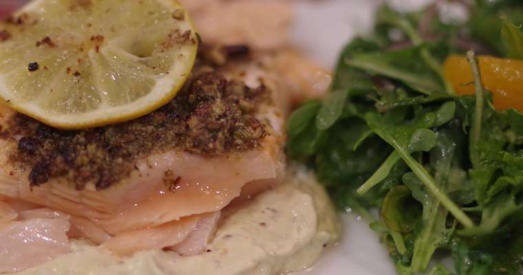 Pecan Crusted Salmon over Mustard Sauce