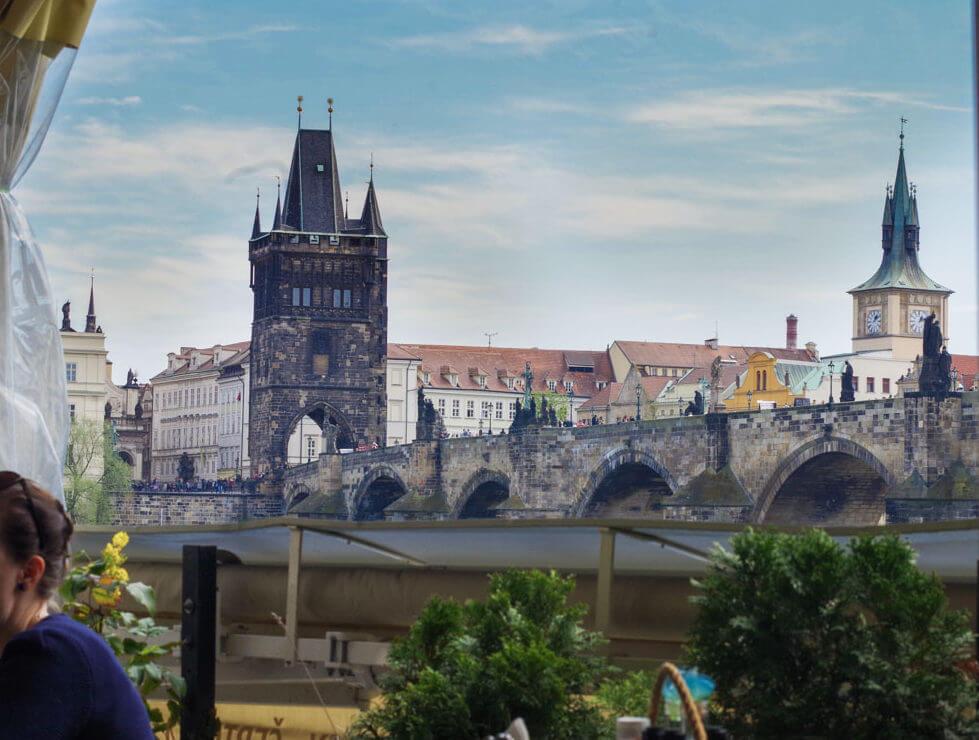 view from certovka restaurant Prague