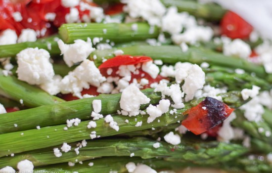 Braised Asparagus with Feta and Tomatoes