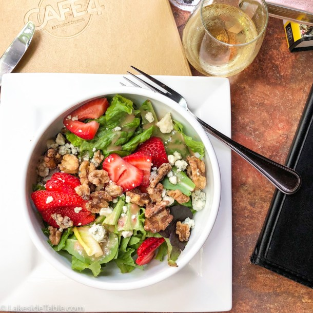 Strawberry salad & wine