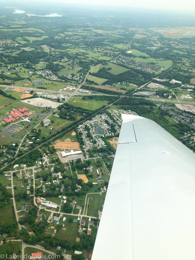Things to do in Knoxville TN - view of city from airplane