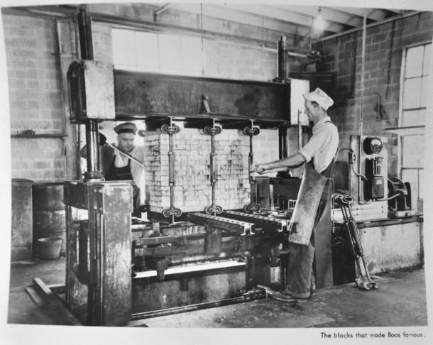 Circa 1941, men at work at John Boos Co factory.