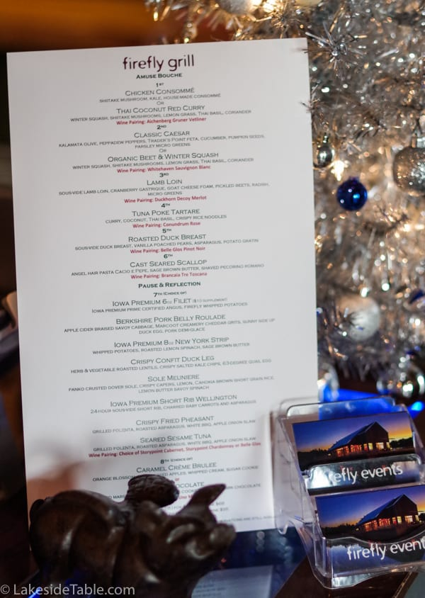 Firefly Grill's 2018 New Year's Eve tasting menu